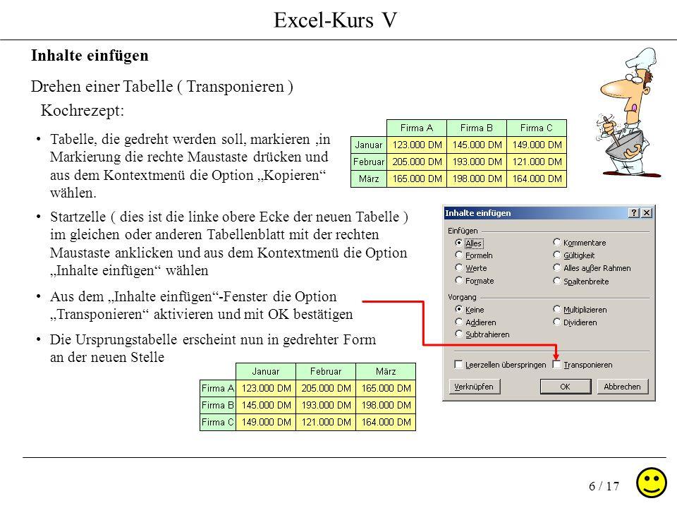 Excel-Kurs V 6 / 17 Inhalte einfügen Drehen einer Tabelle ( Transponieren ) Kochrezept: Startzelle ( dies ist die linke obere Ecke der neuen Tabelle ) im gleichen oder anderen Tabellenblatt mit der rechten Maustaste anklicken und aus dem Kontextmenü die Option Inhalte einfügen wählen Tabelle, die gedreht werden soll, markieren,in Markierung die rechte Maustaste drücken und aus dem Kontextmenü die Option Kopieren wählen.