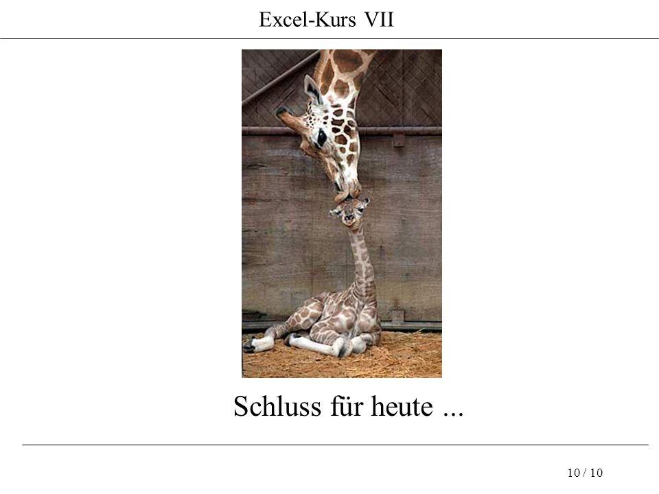 Excel-Kurs VII 10 / 10 Schluss für heute...