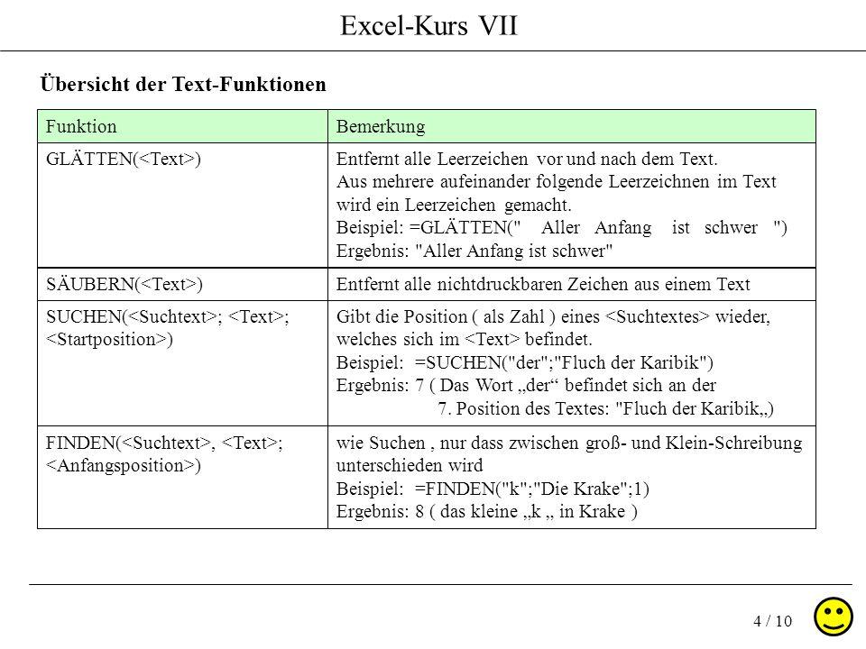 Excel-Kurs VII 4 / 10 Übersicht der Text-Funktionen FunktionBemerkung GLÄTTEN( )Entfernt alle Leerzeichen vor und nach dem Text.