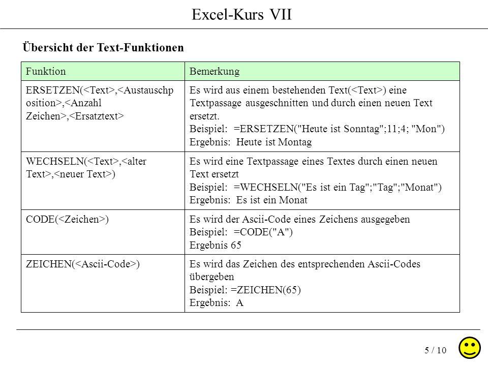 Excel-Kurs VII 5 / 10 Übersicht der Text-Funktionen FunktionBemerkung CODE( )Es wird der Ascii-Code eines Zeichens ausgegeben Beispiel: =CODE( A ) Ergebnis 65 ZEICHEN( )Es wird das Zeichen des entsprechenden Ascii-Codes übergeben Beispiel: =ZEICHEN(65) Ergebnis: A ERSETZEN(,,, Es wird aus einem bestehenden Text( ) eine Textpassage ausgeschnitten und durch einen neuen Text ersetzt.