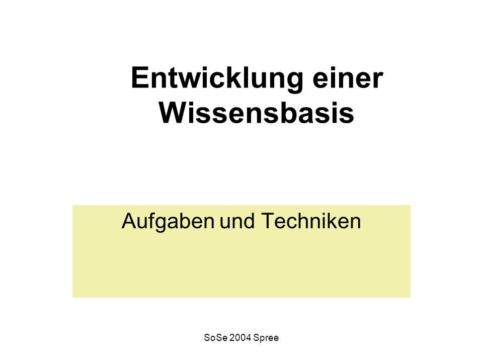 SoSe 2004 Spree Entwicklung einer Wissensbasis Aufgaben und Techniken