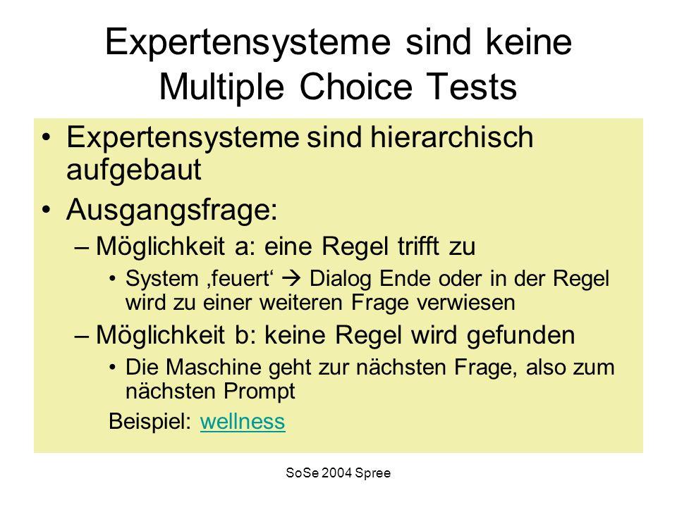 SoSe 2004 Spree Expertensysteme sind keine Multiple Choice Tests Expertensysteme sind hierarchisch aufgebaut Ausgangsfrage: –Möglichkeit a: eine Regel trifft zu System feuert Dialog Ende oder in der Regel wird zu einer weiteren Frage verwiesen –Möglichkeit b: keine Regel wird gefunden Die Maschine geht zur nächsten Frage, also zum nächsten Prompt Beispiel: wellnesswellness
