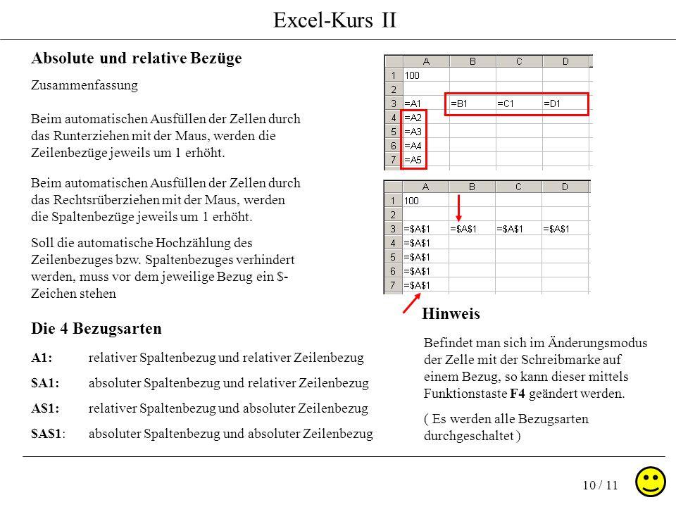Excel-Kurs II 10 / 11 Absolute und relative Bezüge Zusammenfassung Die 4 Bezugsarten A1: $A1: A$1: $A$1: relativer Spaltenbezug und relativer Zeilenbe