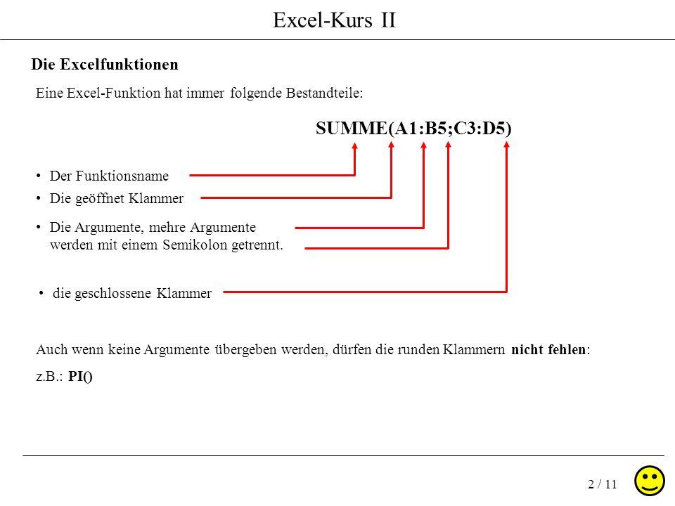 Excel-Kurs II 2 / 11 Die Excelfunktionen Eine Excel-Funktion hat immer folgende Bestandteile: Auch wenn keine Argumente übergeben werden, dürfen die r
