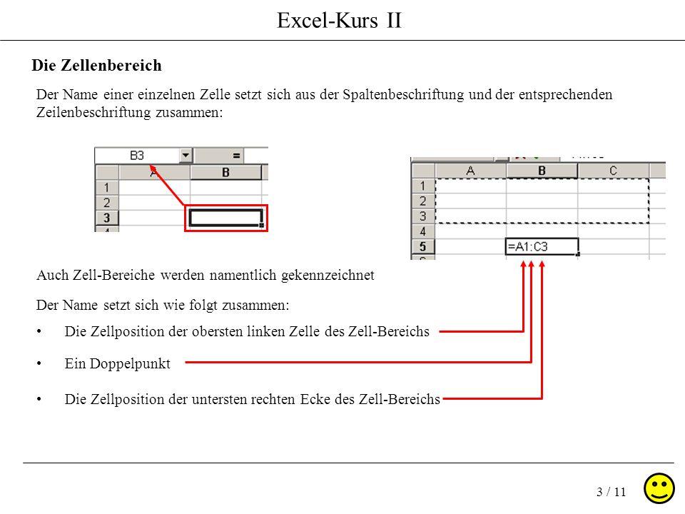 Excel-Kurs II 3 / 11 Die Zellenbereich Der Name einer einzelnen Zelle setzt sich aus der Spaltenbeschriftung und der entsprechenden Zeilenbeschriftung