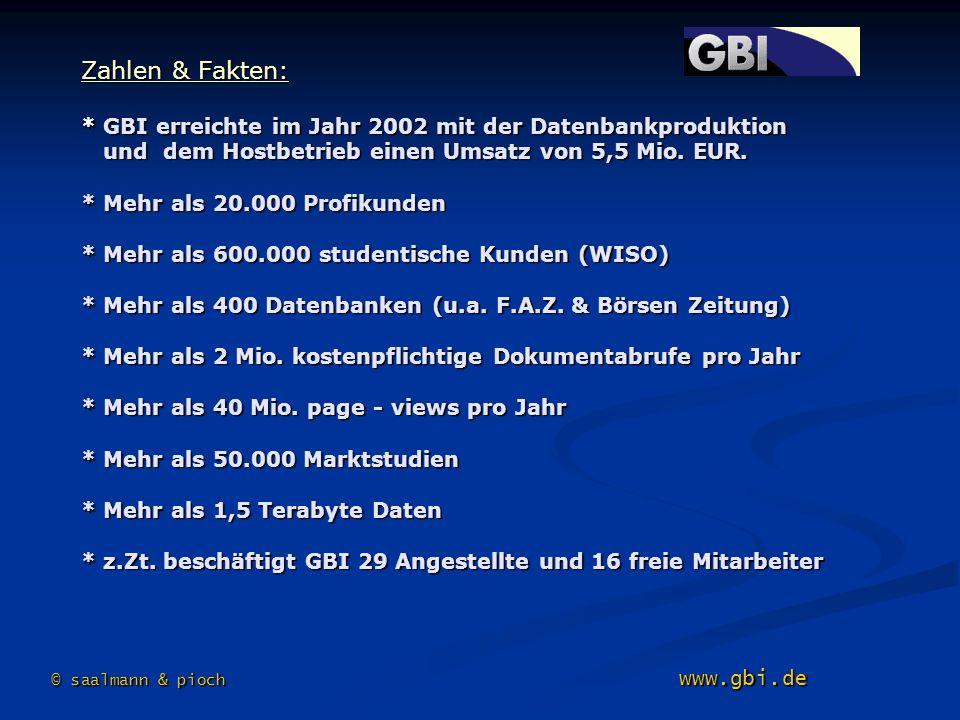 Zahlen & Fakten: * GBI erreichte im Jahr 2002 mit der Datenbankproduktion und dem Hostbetrieb einen Umsatz von 5,5 Mio. EUR. * Mehr als 20.000 Profiku