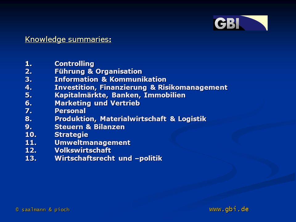 Knowledge summaries : 1.Controlling 2. Führung & Organisation 3. Information & Kommunikation 4. Investition, Finanzierung & Risikomanagement 5. Kapita
