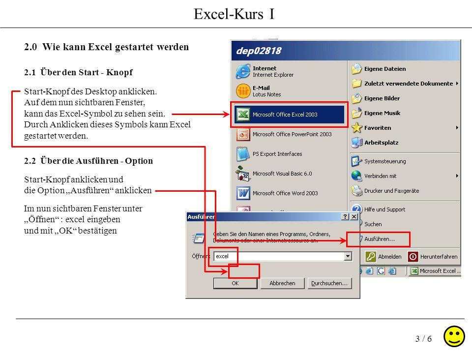 Excel-Kurs I 3 / 6 2.0 Wie kann Excel gestartet werden 2.1 Über den Start - Knopf Start-Knopf des Desktop anklicken.