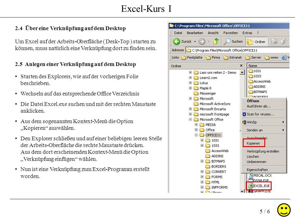 Excel-Kurs I 5 / 6 2.4 Über eine Verknüpfung auf dem Desktop Um Excel auf der Arbeits-Oberfläche ( Desk-Top ) starten zu können, muss natürlich eine Verknüpfung dort zu finden sein.