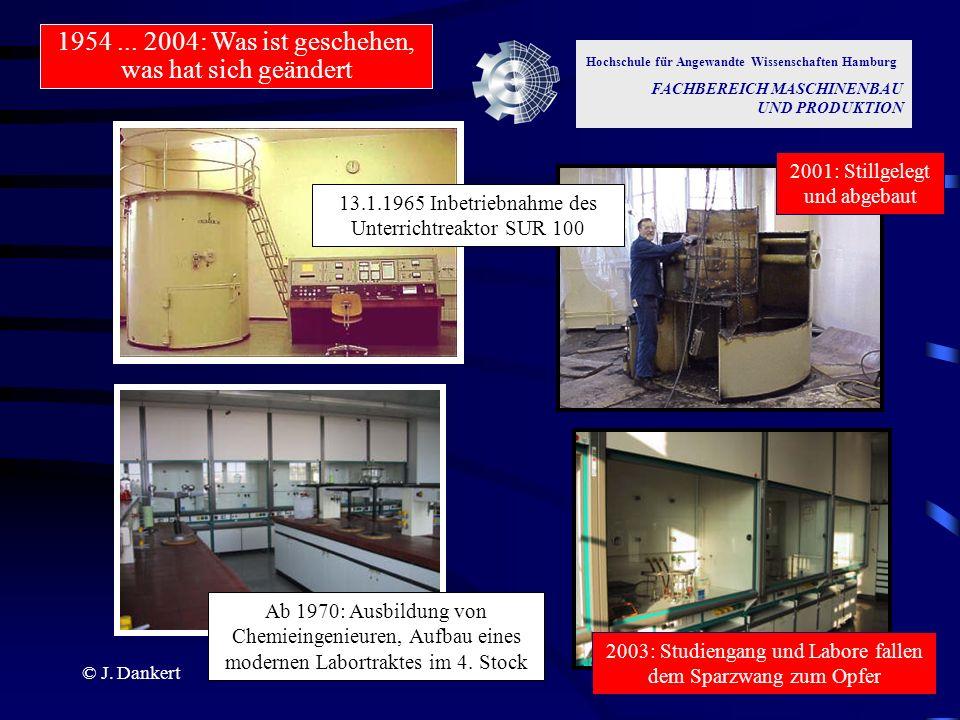 © J. Dankert Hochschule für Angewandte Wissenschaften Hamburg FACHBEREICH MASCHINENBAU UND PRODUKTION 2001: Stillgelegt und abgebaut 13.1.1965 Inbetri