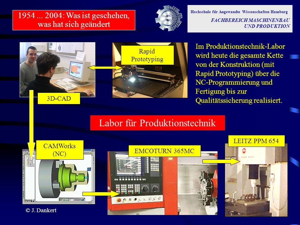 © J. Dankert LEITZ PPM 654CAMWorks (NC) EMCOTURN 365MC Rapid Prototyping 3D-CAD Im Produktionstechnik-Labor wird heute die gesamte Kette von der Konst