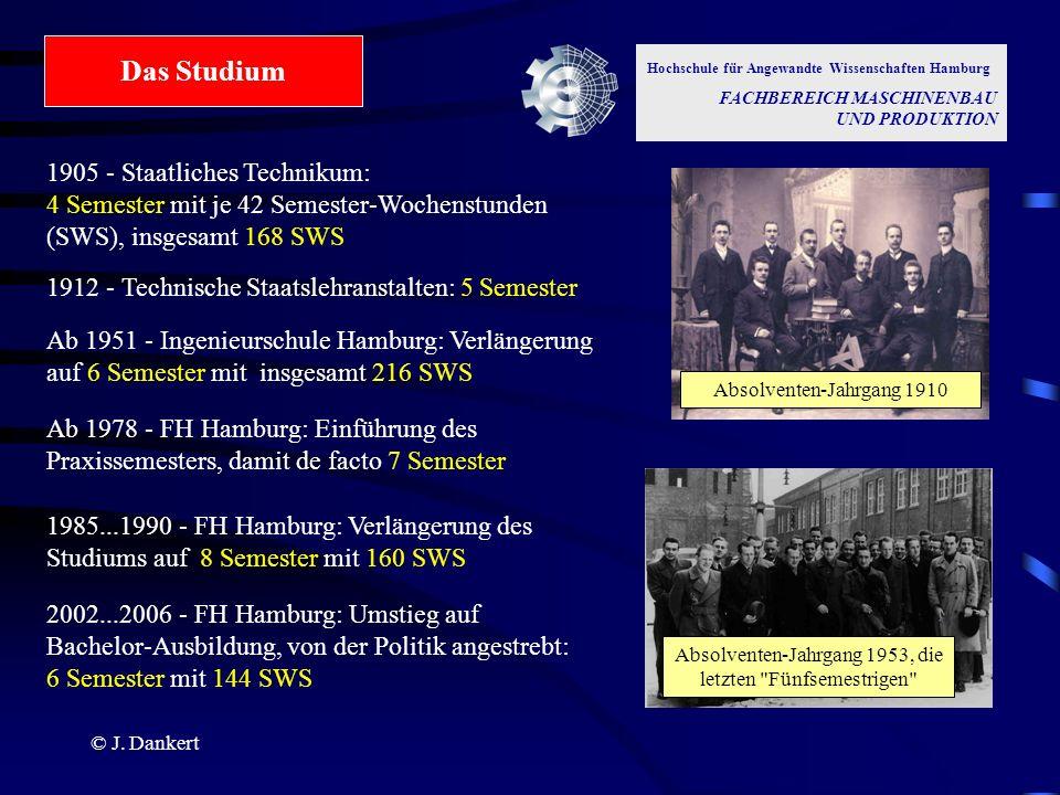 © J. Dankert Hochschule für Angewandte Wissenschaften Hamburg FACHBEREICH MASCHINENBAU UND PRODUKTION Das Studium 1905 - Staatliches Technikum: 4 Seme