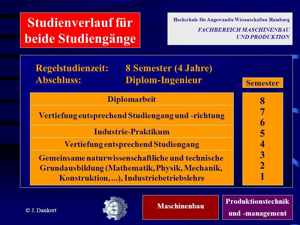 © J. Dankert Gemeinsame naturwissenschaftliche und technische Grundausbildung (Mathematik, Physik, Mechanik, Konstruktion,...), Industriebetriebslehre