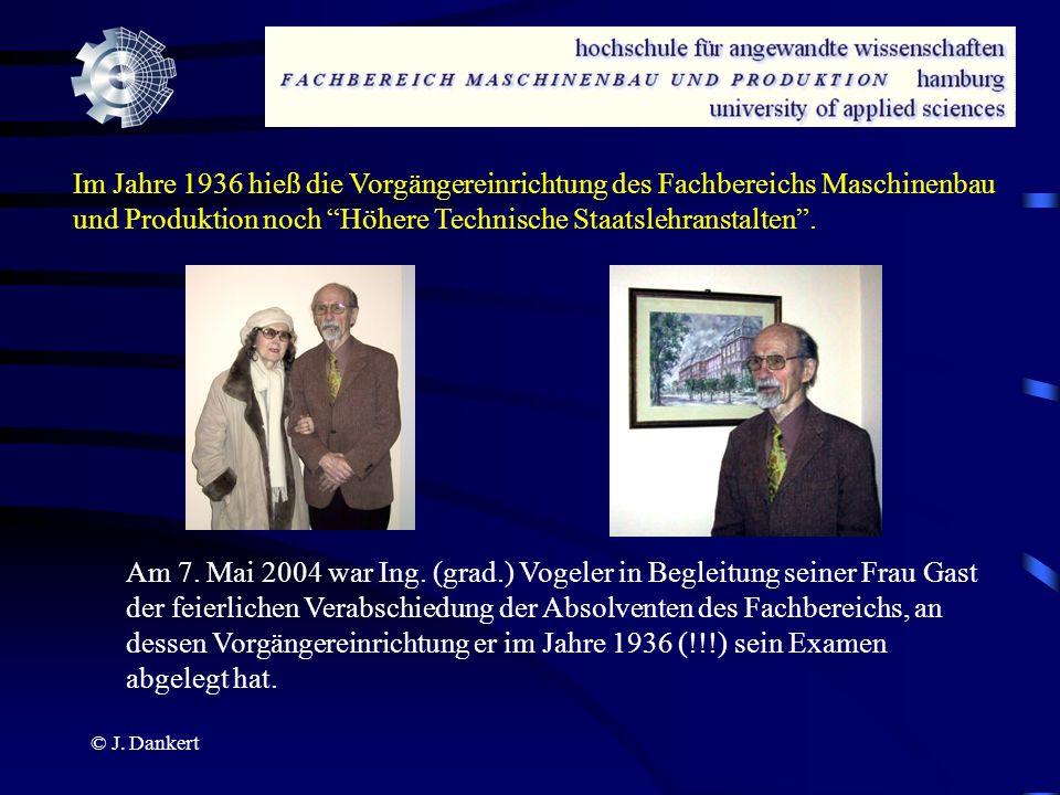 © J. Dankert Im Jahre 1936 hieß die Vorgängereinrichtung des Fachbereichs Maschinenbau und Produktion noch Höhere Technische Staatslehranstalten. Am 7