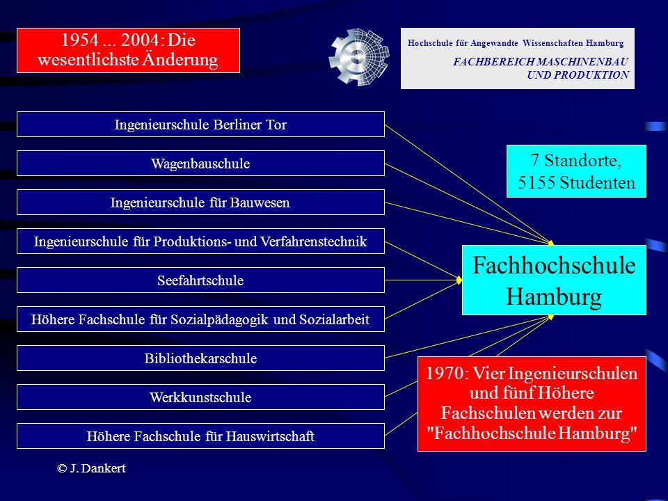 © J. Dankert Hochschule für Angewandte Wissenschaften Hamburg FACHBEREICH MASCHINENBAU UND PRODUKTION 1954... 2004: Die wesentlichste Änderung Ingenie