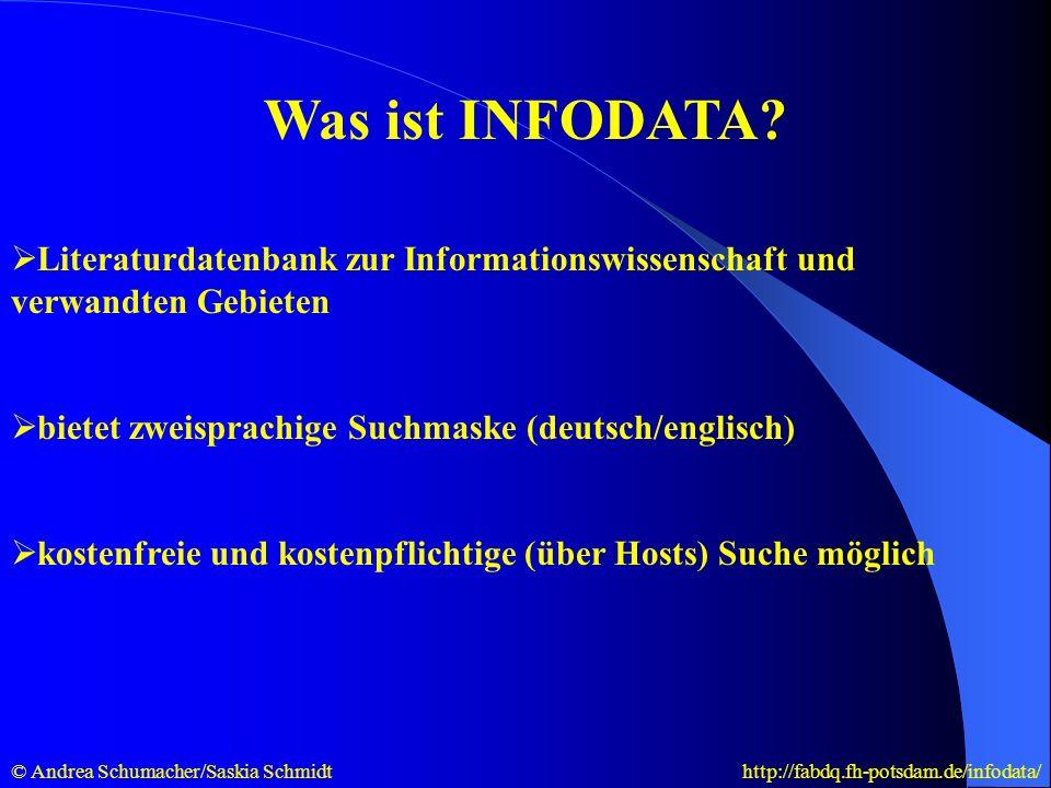 Allgemeines über INFODATA existiert seit 1976 und enthält ca.