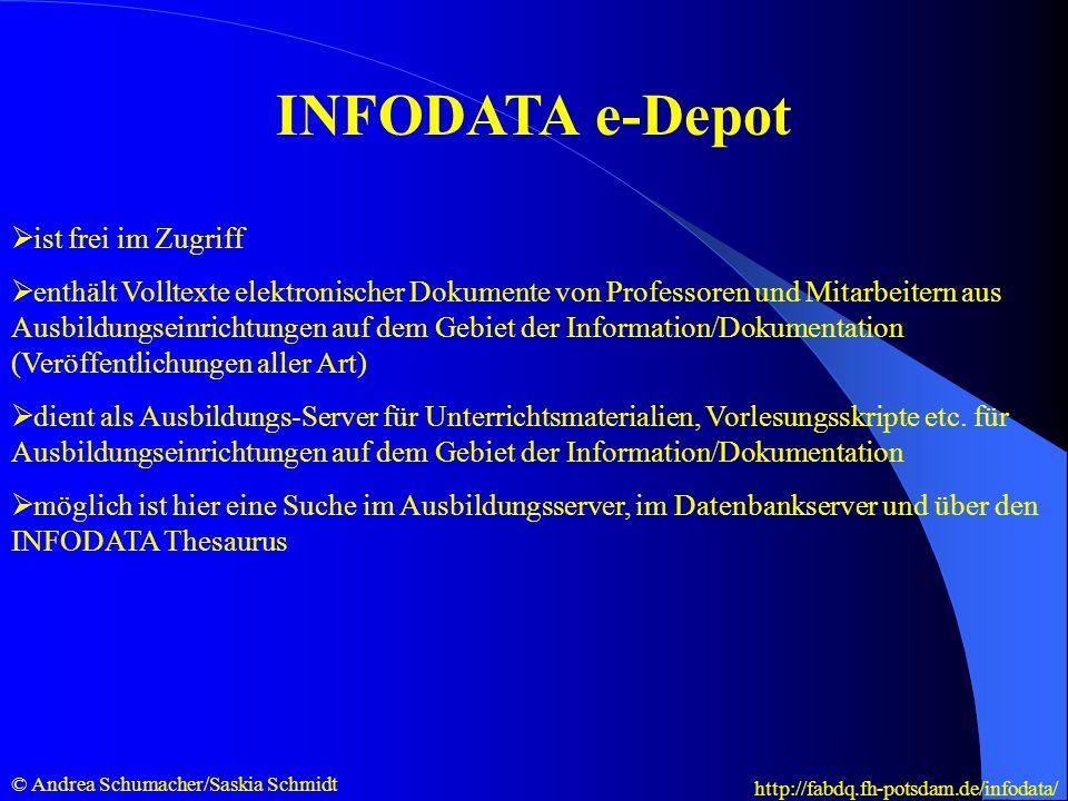 INFODATA e-Depot ist frei im Zugriff enthält Volltexte elektronischer Dokumente von Professoren und Mitarbeitern aus Ausbildungseinrichtungen auf dem Gebiet der Information/Dokumentation (Veröffentlichungen aller Art) dient als Ausbildungs-Server für Unterrichtsmaterialien, Vorlesungsskripte etc.