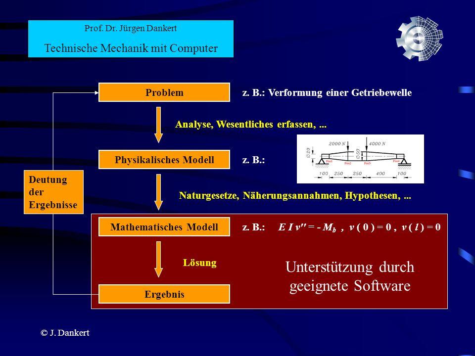 © J. Dankert Unterstützung durch geeignete Software Prof. Dr. Jürgen Dankert Technische Mechanik mit Computer Physikalisches Modell Analyse, Wesentlic