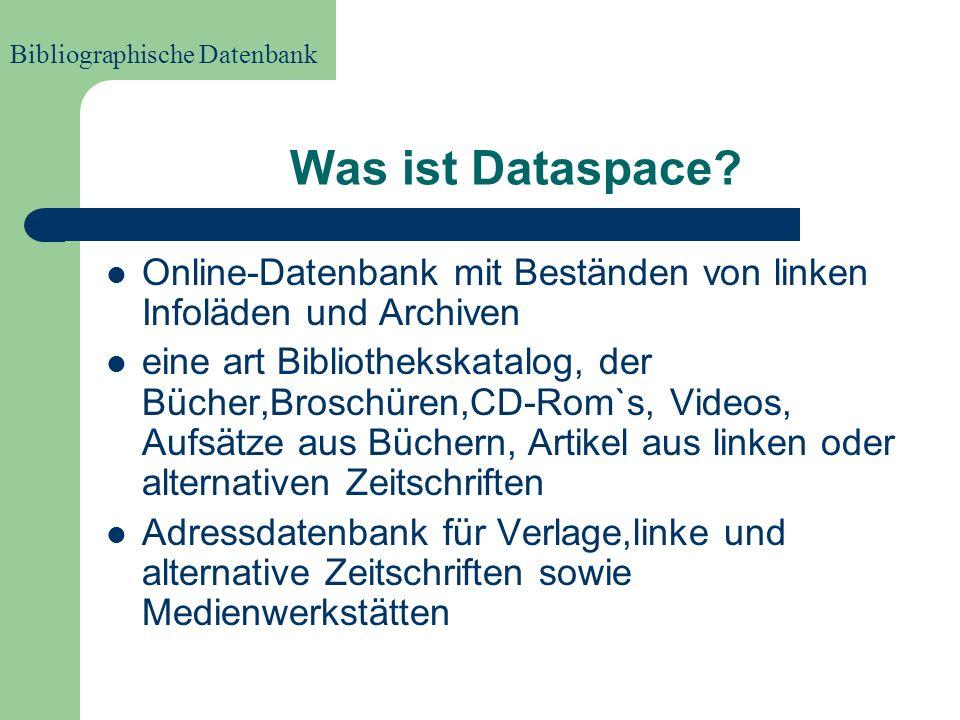 Dataspace Was ist Dataspace? Was verzeichnet Dataspace? Geschichte von Dataspace Suchmöglichkeiten bei Dataspace Suchbeispiele in der Datenbank Biblio