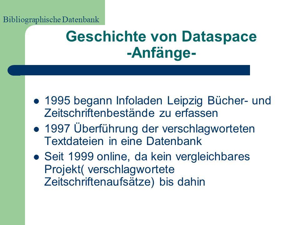 Was verzeichnet Dataspace? Titelaufnahme der erfassten Bestände (d.h.AutorIn, Titel, Untertitel, Schlagworte etc.) Volltexte nicht direkt verfügbar (l