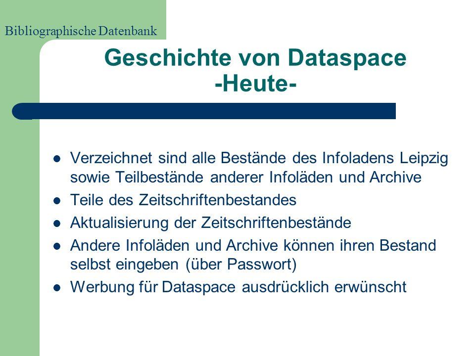 Geschichte von Dataspace -Anfänge- 1995 begann Infoladen Leipzig Bücher- und Zeitschriftenbestände zu erfassen 1997 Überführung der verschlagworteten Textdateien in eine Datenbank Seit 1999 online, da kein vergleichbares Projekt( verschlagwortete Zeitschriftenaufsätze) bis dahin Bibliographische Datenbank