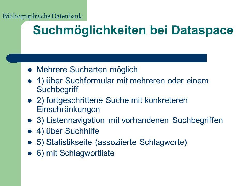 Geschichte von Dataspace -Zukunft- Programmierung vollständig abzuschließen Zusammenarbeit mit weiteren Infoläden und Archiven zum Zweck der Datenerweiterung Bibliographische Datenbank