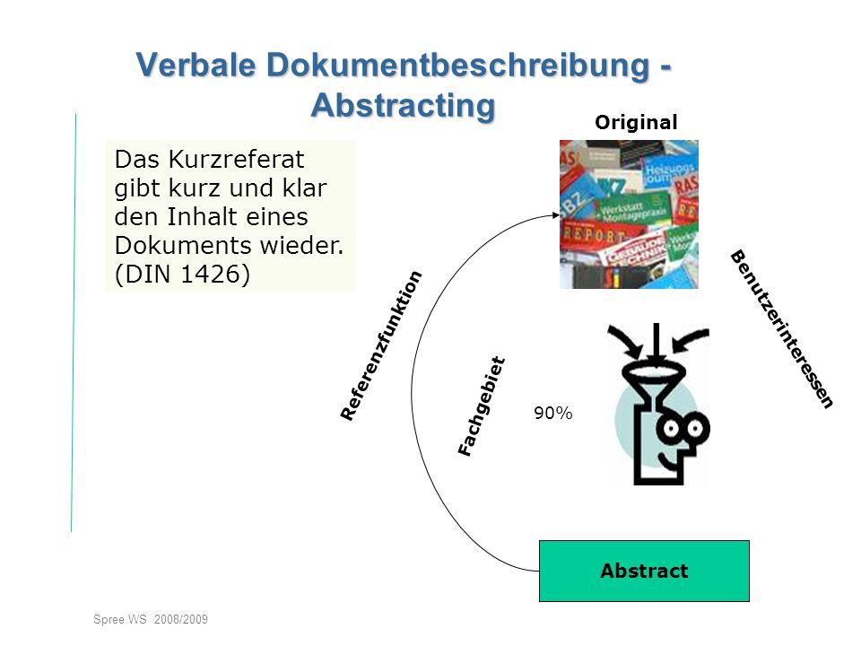 Spree WS 2008/2009 Verbale Dokumentbeschreibung - Abstracting Das Kurzreferat gibt kurz und klar den Inhalt eines Dokuments wieder.