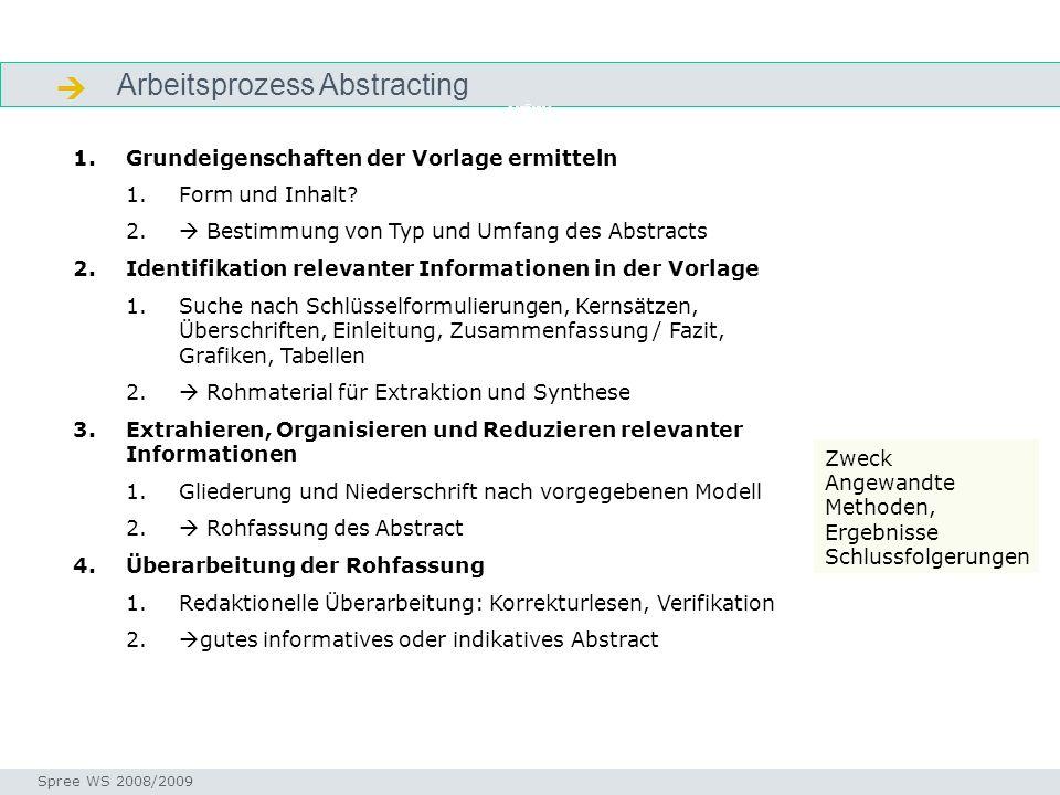 Arbeitsprozess Abstracting Aufgabe Seminar I-Prax: Inhaltserschließung visueller Medien, 5.10.2004 Spree WS 2008/2009 1.Grundeigenschaften der Vorlage ermitteln 1.Form und Inhalt.