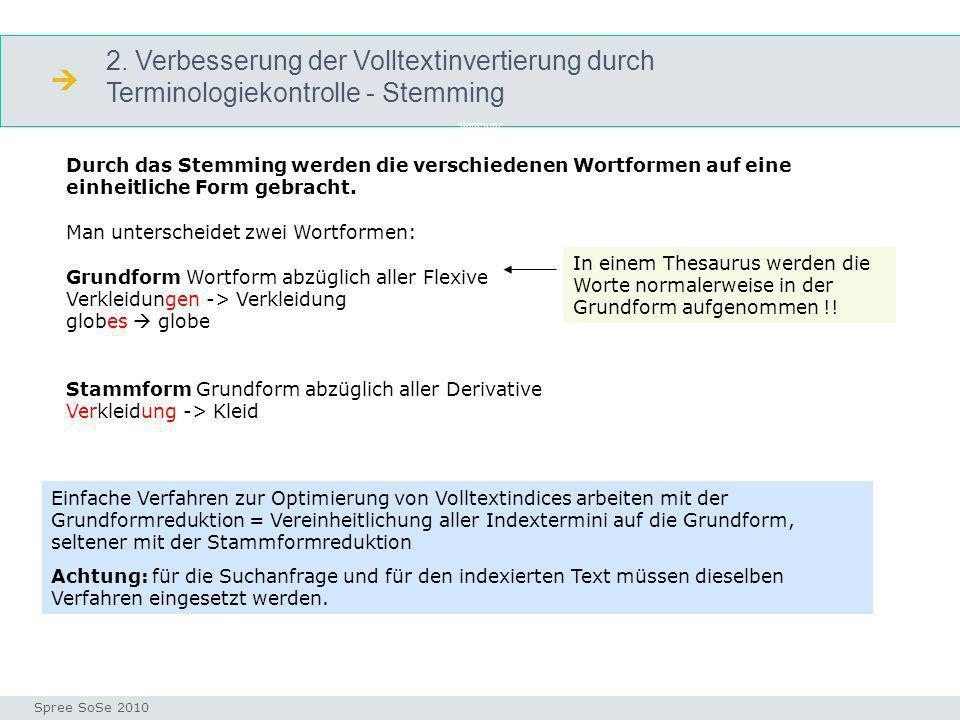 2. Verbesserung der Volltextinvertierung durch Terminologiekontrolle - Stemming stemming Seminar I-Prax: Inhaltserschließung visueller Medien, 5.10.20