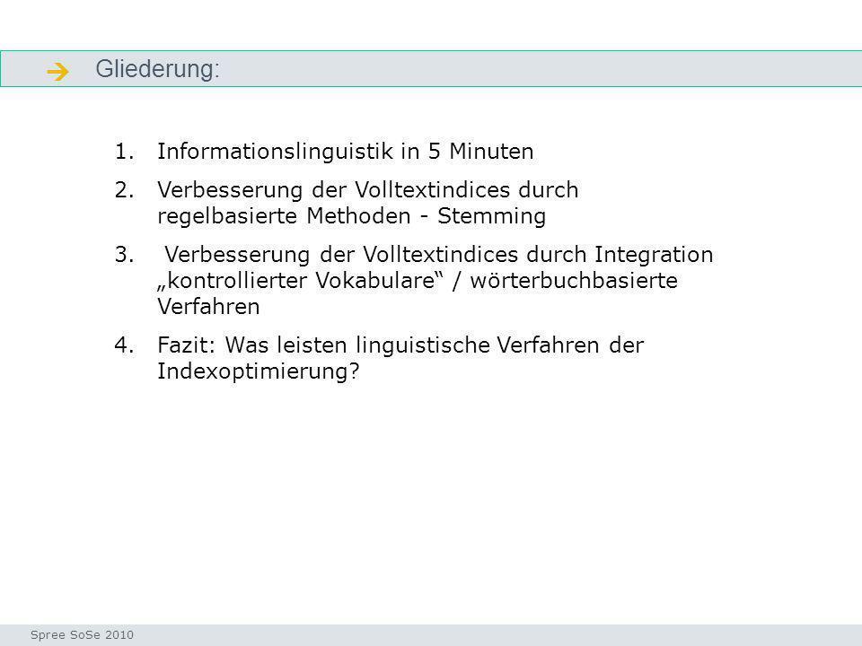 Gliederung: gliederung Seminar I-Prax: Inhaltserschließung visueller Medien, 5.10.2004 Spree SoSe 2010 1.Informationslinguistik in 5 Minuten 2.Verbess