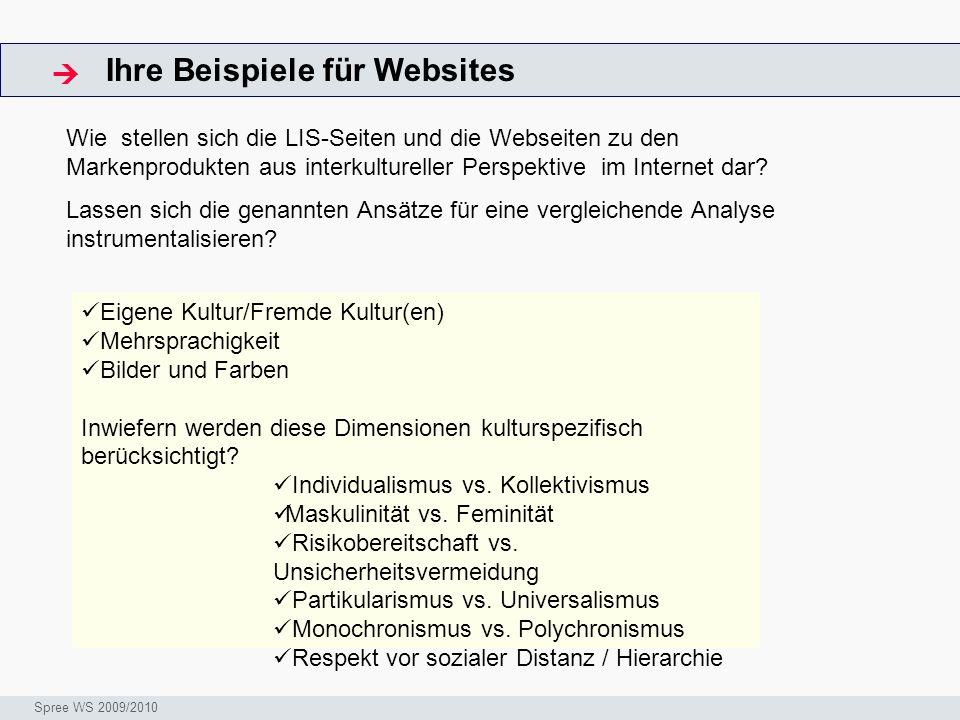 Ihre Beispiele für Websites ArbeitsschritteW Seminar I-Prax: Inhaltserschließung visueller Medien, 5.10.2004 Spree WS 2009/2010 Eigene Kultur/Fremde K
