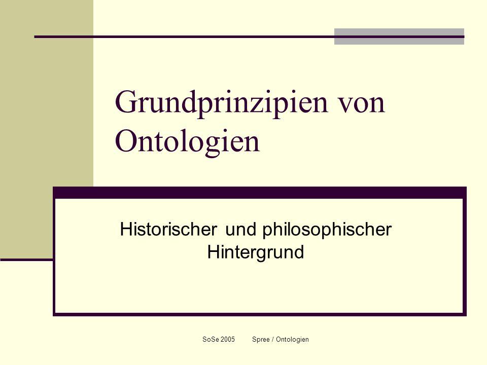 SoSe 2005 Spree / Ontologien Grundprinzipien von Ontologien Historischer und philosophischer Hintergrund