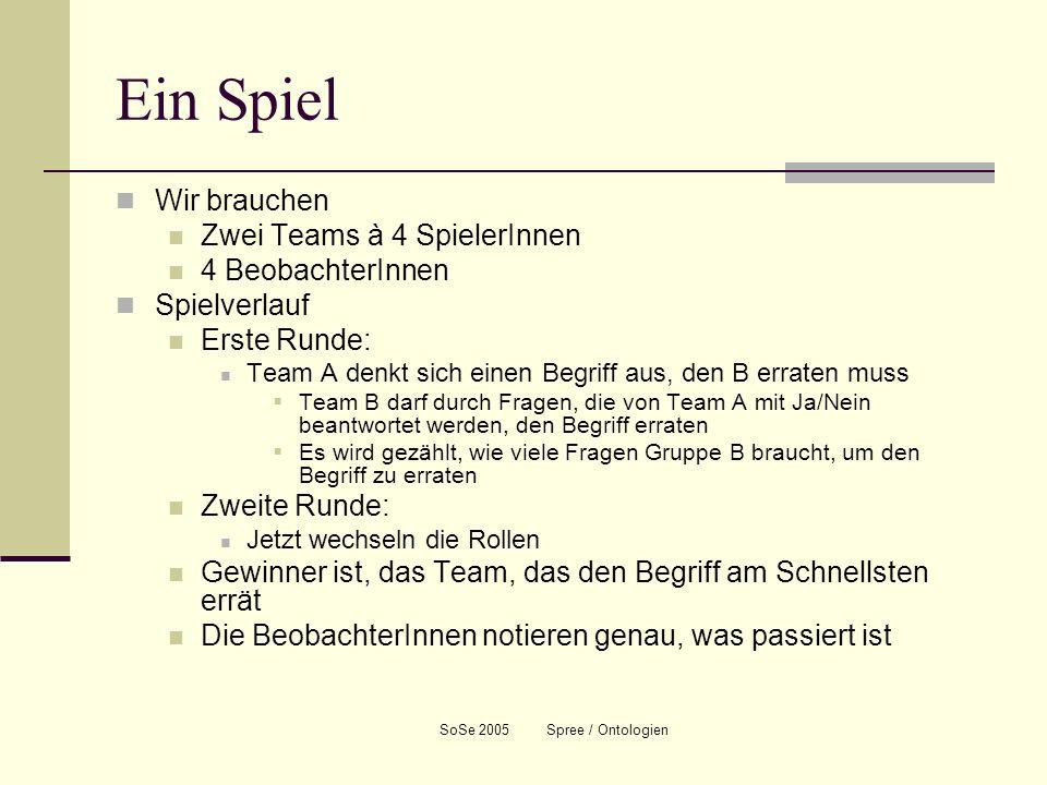 SoSe 2005 Spree / Ontologien Wie sind Sie vorgegangen.