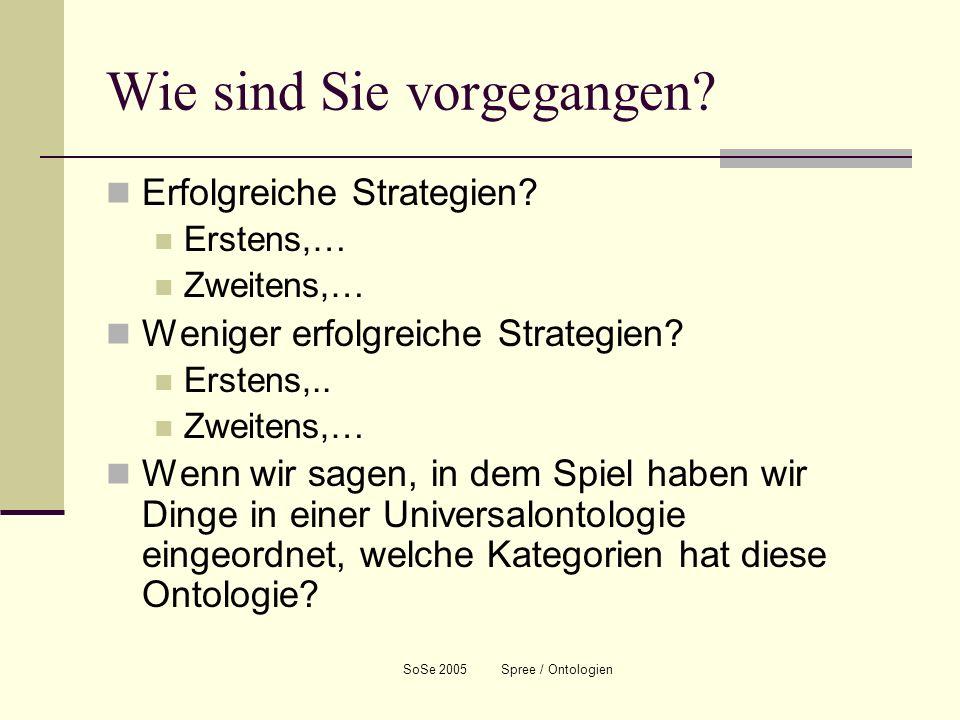 SoSe 2005 Spree / Ontologien Wie sind Sie vorgegangen? Erfolgreiche Strategien? Erstens,… Zweitens,… Weniger erfolgreiche Strategien? Erstens,.. Zweit
