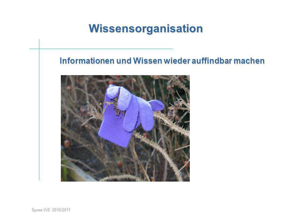 Informationen und Wissen wieder auffindbar machen Spree WS 2010/2011 Wissensorganisation Wissensorganisation Einstieg