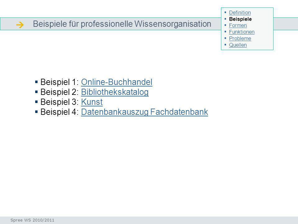 Beispiele für professionelle Wissensorganisation Beispiele Beispiel 1: Online-BuchhandelOnline-Buchhandel Beispiel 2: BibliothekskatalogBibliothekskat