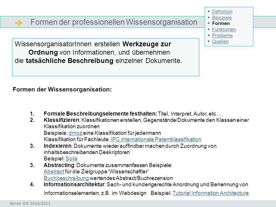 Formen der professionellen Wissensorganisation Formen Formen der Wissensorganisation: 1.Formale Beschreibungselemente festhalten: Titel, Interpret, Autor, etc….