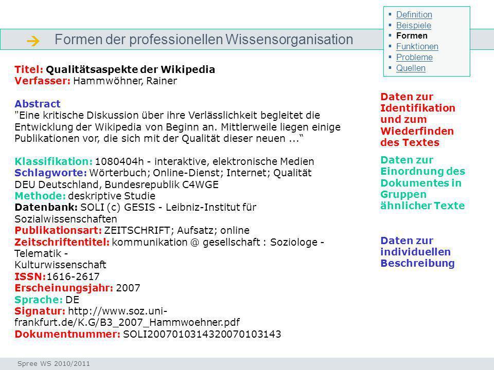 Formen der professionellen Wissensorganisation Formen Seminar I-Prax: Inhaltserschließung visueller Medien, 5.10.2004 Spree WS 2010/2011 Definition Be