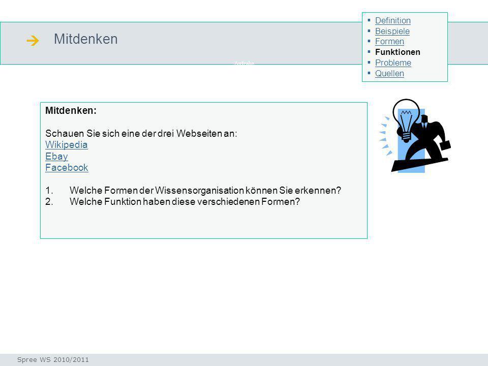 Mitdenken Seminar I-Prax: Inhaltserschließung visueller Medien, 5.10.2004 Spree WS 2010/2011 Definition Beispiele Formen Funktionen Probleme Quellen A
