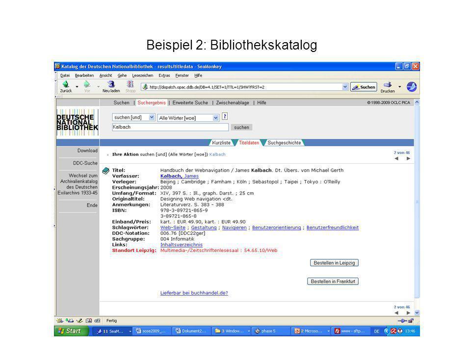 Beispiel 4: Datenbankauszug Fachdatenbank Titel: Qualitätsaspekte der Wikipedia Verfasser: Hammwöhner, Rainer Abstract Eine kritische Diskussion über ihre Verlässlichkeit begleitet die Entwicklung der Wikipedia von Beginn an.