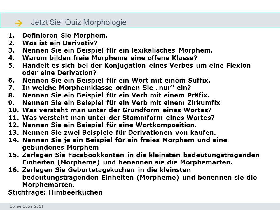 Jetzt Sie: Quiz Morphologie Morpheme_quiz Seminar I-Prax: Inhaltserschließung visueller Medien, 5.10.2004 Spree SoSe 2011 1.Definieren Sie Morphem. 2.