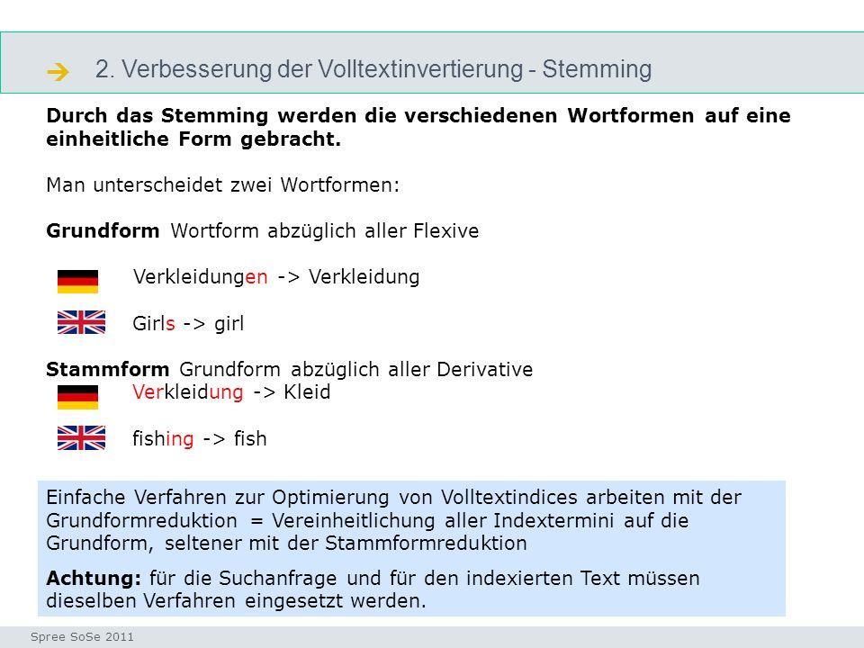 2. Verbesserung der Volltextinvertierung - Stemming stemming Seminar I-Prax: Inhaltserschließung visueller Medien, 5.10.2004 Spree SoSe 2011 Durch das