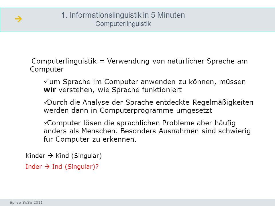 1. Informationslinguistik in 5 Minuten Computerlinguistik computerlinguistik Seminar I-Prax: Inhaltserschließung visueller Medien, 5.10.2004 Spree SoS