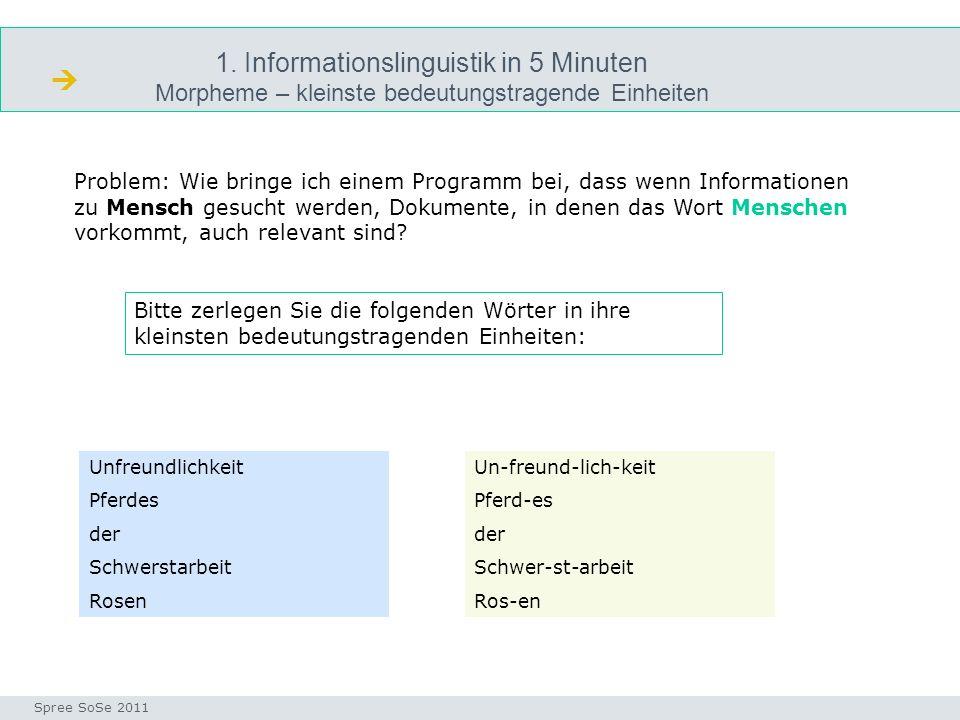 1. Informationslinguistik in 5 Minuten Morpheme – kleinste bedeutungstragende Einheiten morphologie Seminar I-Prax: Inhaltserschließung visueller Medi