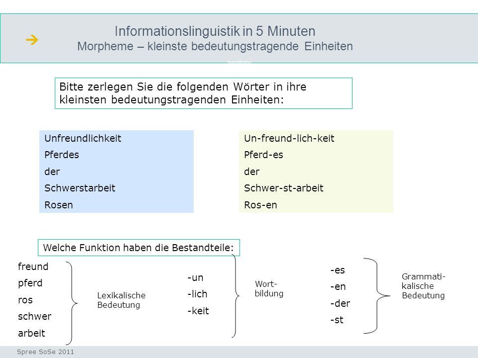 Informationslinguistik in 5 Minuten Morpheme – kleinste bedeutungstragende Einheiten morpheme Seminar I-Prax: Inhaltserschließung visueller Medien, 5.