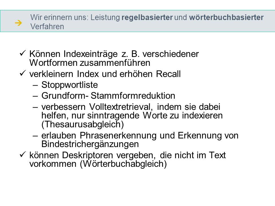 Können Indexeinträge z. B.