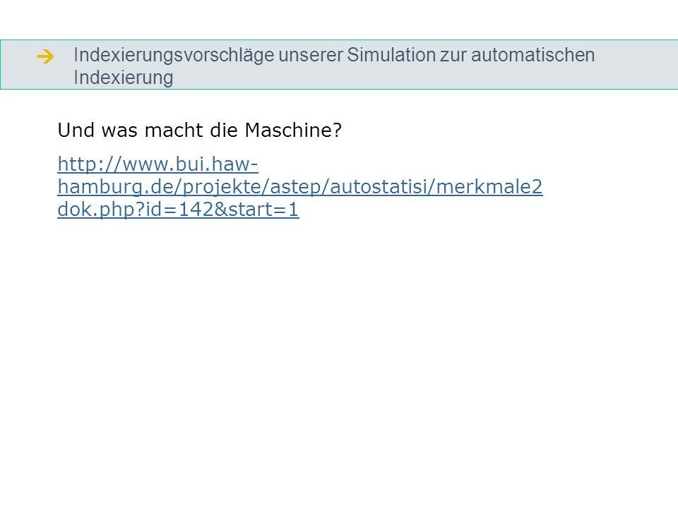 Indexierungsvorschläge unserer Simulation zur automatischen Indexierung Und was macht die Maschine.