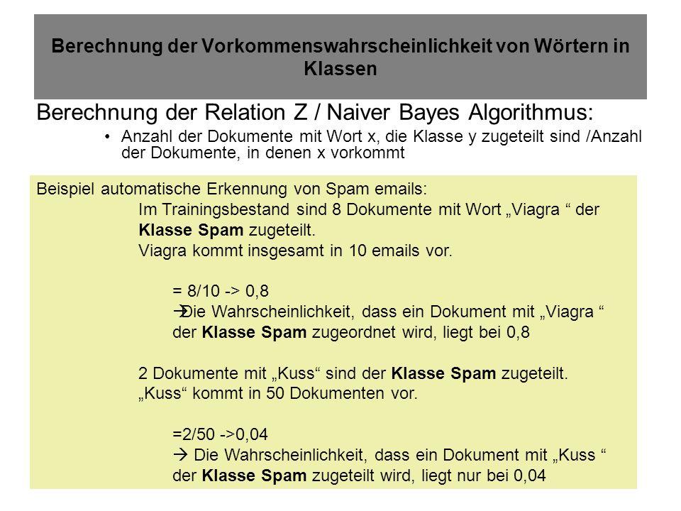 23.01.2014Spree/Worg2/LE 10 Berechnung der Vorkommenswahrscheinlichkeit von Wörtern in Klassen Berechnung der Relation Z / Naiver Bayes Algorithmus: Anzahl der Dokumente mit Wort x, die Klasse y zugeteilt sind /Anzahl der Dokumente, in denen x vorkommt Beispiel automatische Erkennung von Spam emails: Im Trainingsbestand sind 8 Dokumente mit Wort Viagra der Klasse Spam zugeteilt.