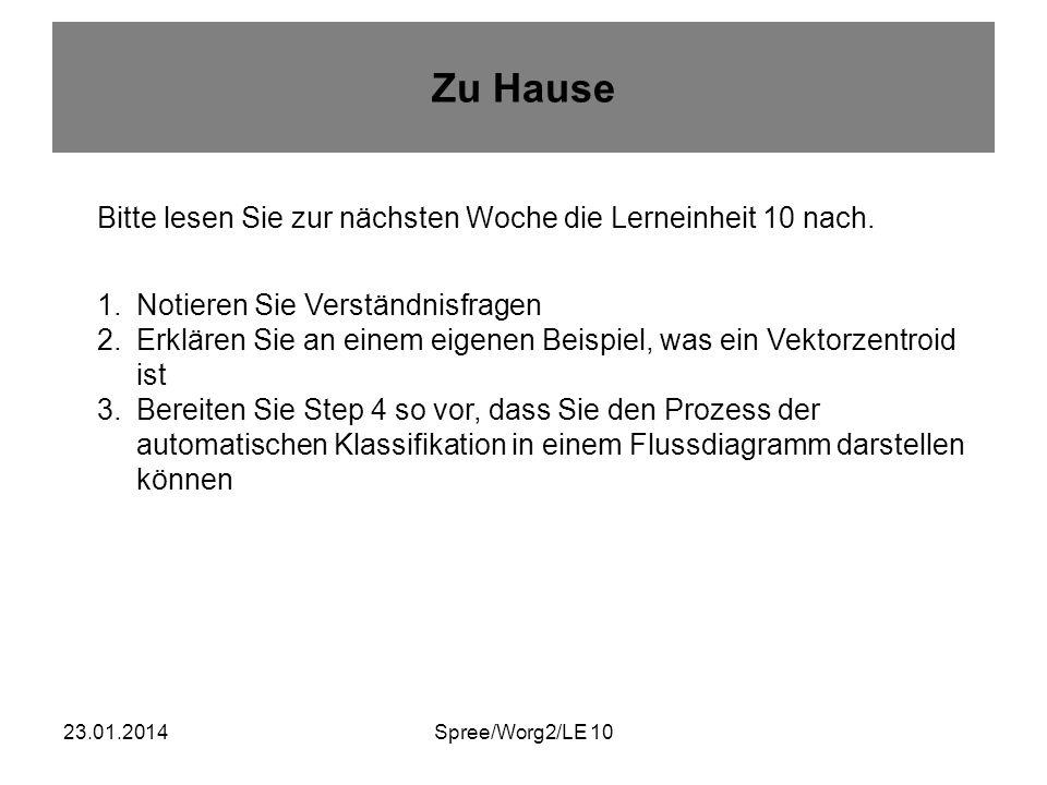 23.01.2014Spree/Worg2/LE 10 Zu Hause Bitte lesen Sie zur nächsten Woche die Lerneinheit 10 nach.