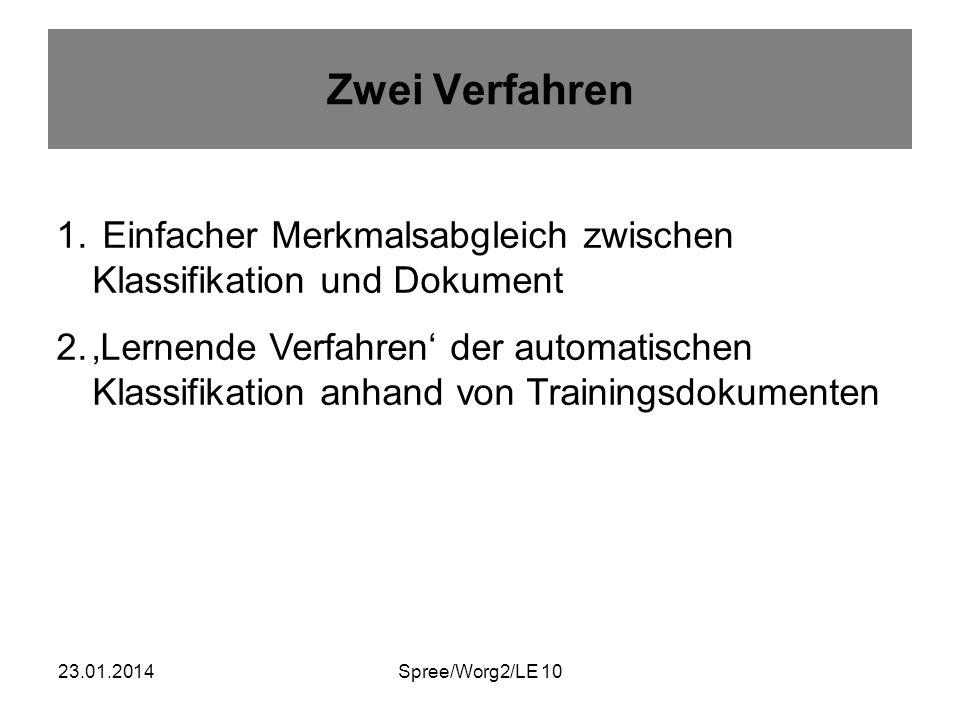 23.01.2014Spree/Worg2/LE 10 Zwei Verfahren 1. Einfacher Merkmalsabgleich zwischen Klassifikation und Dokument 2.Lernende Verfahren der automatischen K